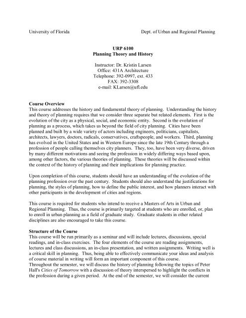 URP 6100 Planning Theory and History - University of Florida