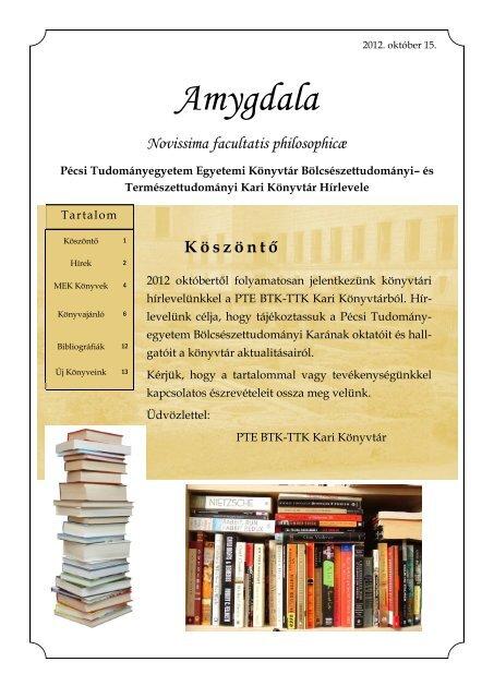2012/01. szám - PTE Egyetemi Könyvtár - Pécsi Tudományegyetem