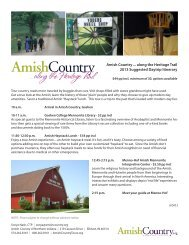Amish Country... Along the Heritage Trail Suggested Daytrip Itinerary