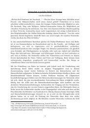Fact Sheet zu Sozialen Netzwerken - Gerold Reichenbach