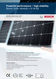 Powerful performance – high stability. Bosch Solar Module c-Si M 60