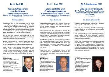 Di. 5. April 2011 Wenn Zufriedenheit zum Zufall wird Di. 21. Juni ...