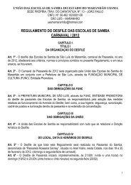 regulamento do desfile das escolas de samba carnaval / 2012