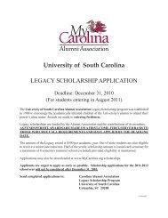 LEGACY SCHOLARSHIP APPLICATION University of South Carolina