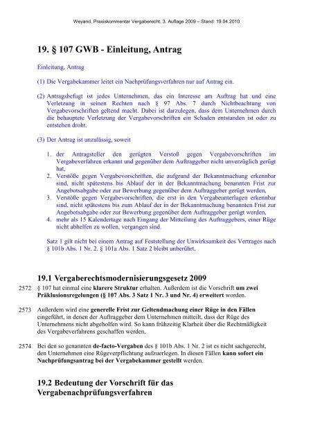 19. § 107 GWB - Einleitung, Antrag - Oeffentliche Auftraege