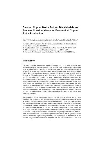 Die-cast Copper Motor Rotors - Copper Development Association
