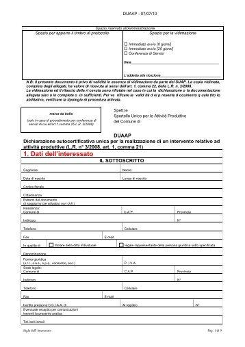 1. Dati dell'interessato - Sardegna SUAP