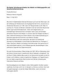 Basler Schulhäuser im Wandel - Denkmalpflege