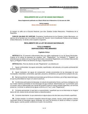 Reglamento de la Ley de Aguas Nacionales - CONAGUA