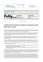 Intellectual Property holding companies and R&D tax credits - ENS