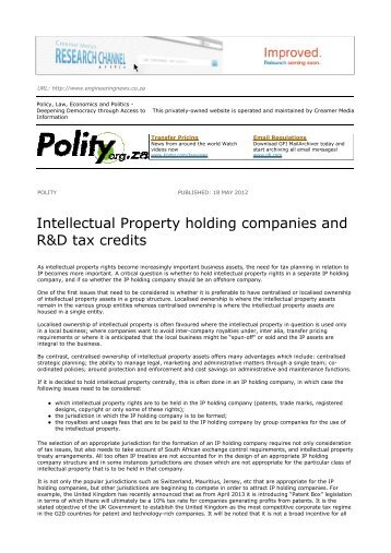 Intellectual Property Holding Companies And R D Tax Credits Ens