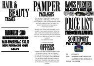 Bangs Price List