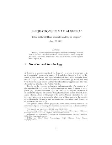 "Z%EQUATIONS IN MAX ALGEBRA"" - University of Birmingham"