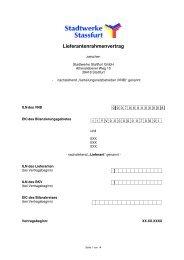 Lieferantenrahmenvertrag - Stadtwerke Staßfurt GmbH
