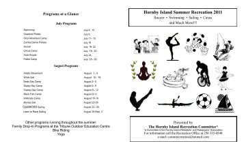 Hornby Recreation 2011 Summer Schedule - Real Hornby