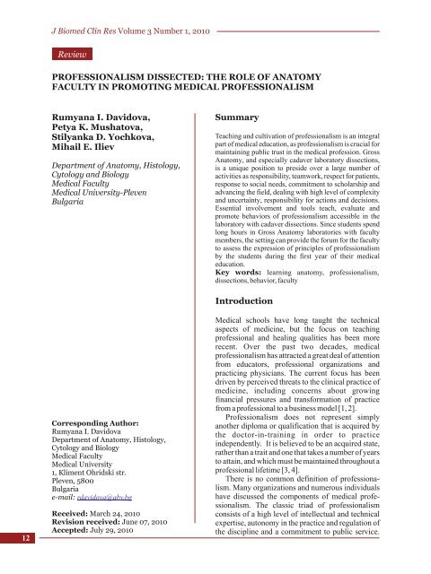 Professionalism Dissected Journal Of Biomedical And Clinical