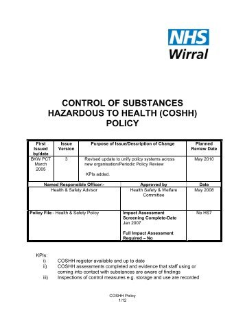 Control of Substances Hazardous to Health Policy (COSHH) - Library