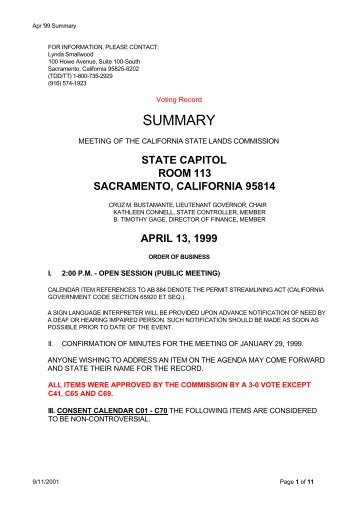 Voting Record / Staff Reports - CA State Lands Commission Archives