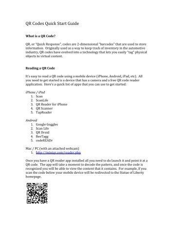 QR Codes Quick Start Guide - craig kapp