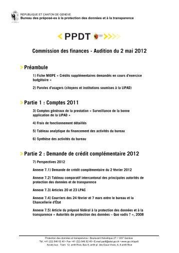 Dossier comptes 2011 et demande de crédit ... - Etat de Genève