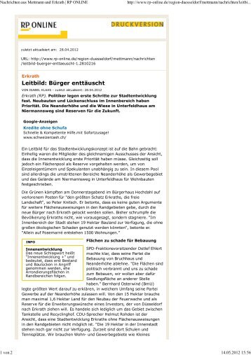 Nachrichten aus Mettmann und Erkrath | RP ONLINE - Zukunft Erkrath