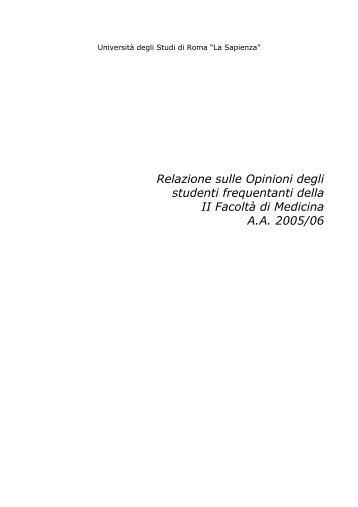 Relazione sulle Opinioni degli studenti frequentanti della ... - Sapienza