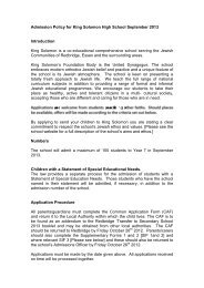 Admissions 2013 final draft policy and criteria - King Solomon High ...