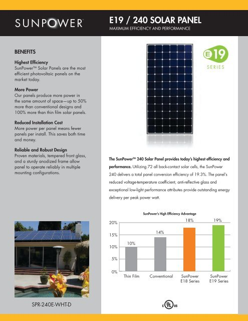 E19 / 240 SOLAR PANEL - Sunpower