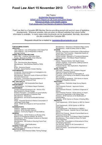 Food Law Alert 15 November 2013 - Campden BRI