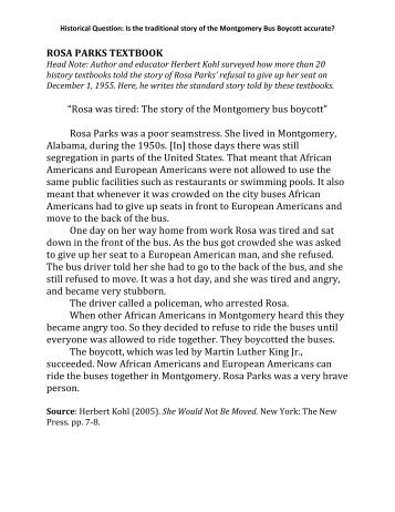 montgomery bus boycott essay paper The montgomery bus boycott of 1955-56 is often credited with launching the civil rights movement while that portrayal is not truly accurate, the 381 days.