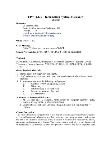CPSC 6126 – Information System Assurance