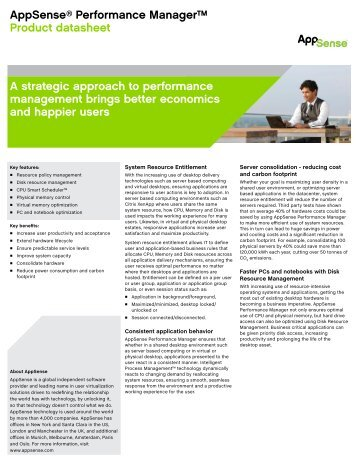 AppSense® Performance Manager™ Product datasheet A strategic ...