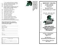 camp information - Mount Olive College