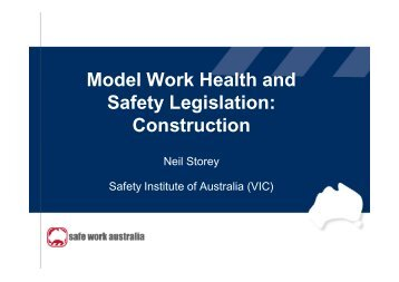 Model Work Health and Safety Legislation: Construction - Safety ...