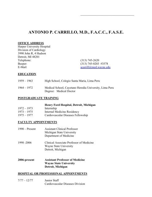 antonio p  carrillo, md, facc, fase - Division of Cardiology