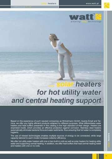... solar heaters for hot utility water and central heating support - Watt