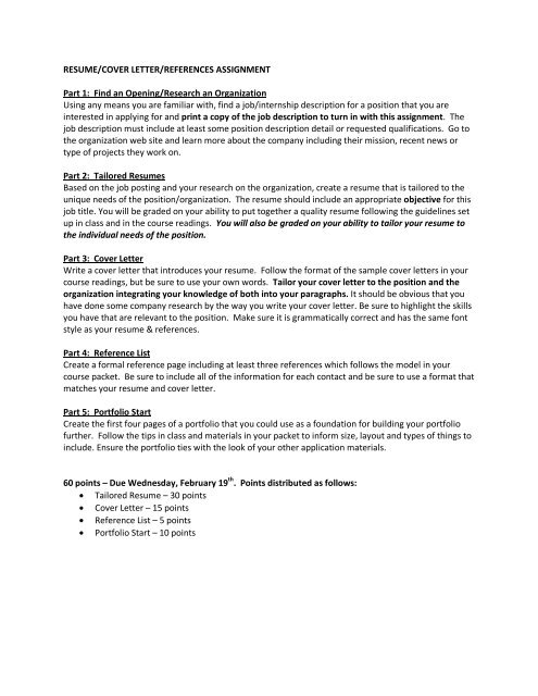 Resume Cover Letter References Portfolio Start Assignment Pdf