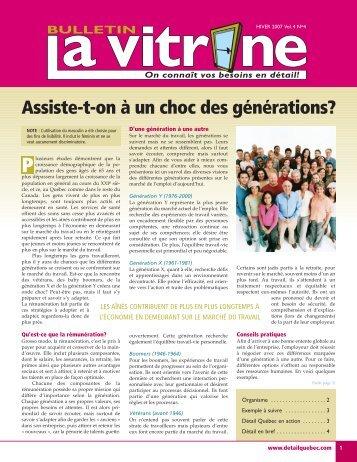Assiste-t-on à un choc des générations? - Détail Québec