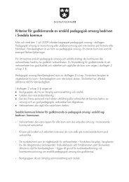 Kriterier för godkännande av enskild pedagogisk ... - Svedala kommun