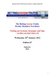 The Betting System Truths Weekly Members Newsletter Testing out ...