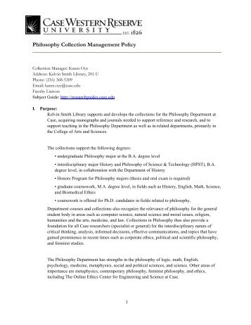 Philosophy Collection Management Policy - Kelvin Smith Library