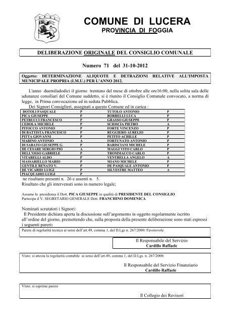 Delibera aliquote I.M.U. 2012 - Comune di Lucera