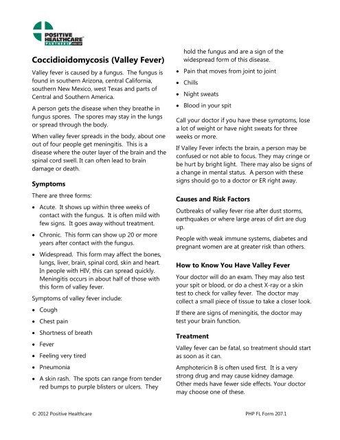 Coccidioidomycosis (Valley Fever) - Positive Healthcare