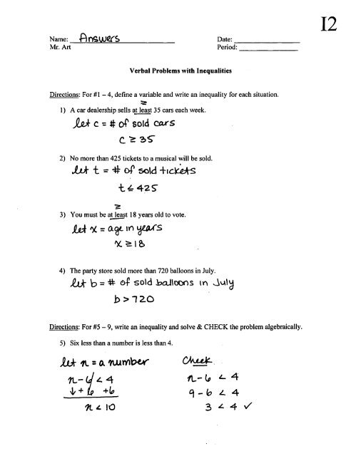 Solving Linear Inequalities Worksheet Pdf - Bertemu co