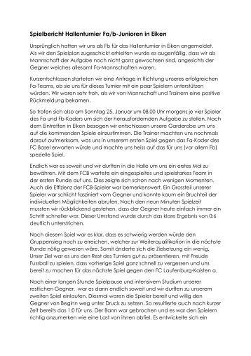 Spielbericht Hallenturnier Fa/b-Junioren in Eiken - FC Ettingen