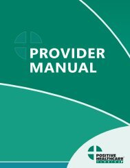 PROVIDER MANUAL - Positive Healthcare