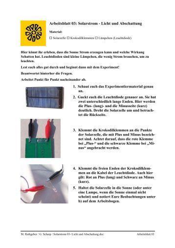 Arbeitsblatt Licht Und Farben : Arbeitsblatt motor und abschattung