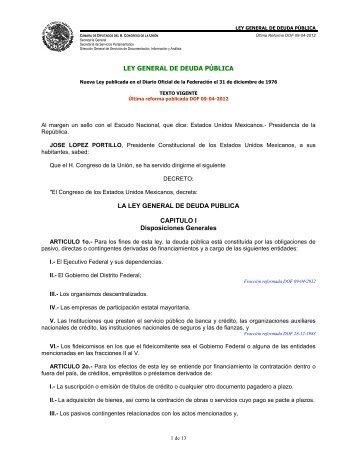 Ley General de Deuda Pública - Normateca SEP
