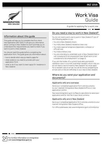 Work Visa Guide (INZ 1016) PDF - New Zealand Immigration Service
