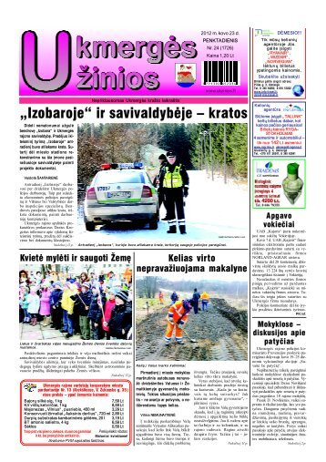 2012-03-23-UZ-1 dalis - Ukmergės žinios